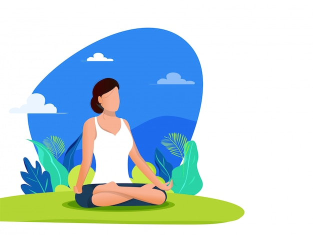 Abstrakcjonistyczny tło projekt dla międzynarodowego joga dnia