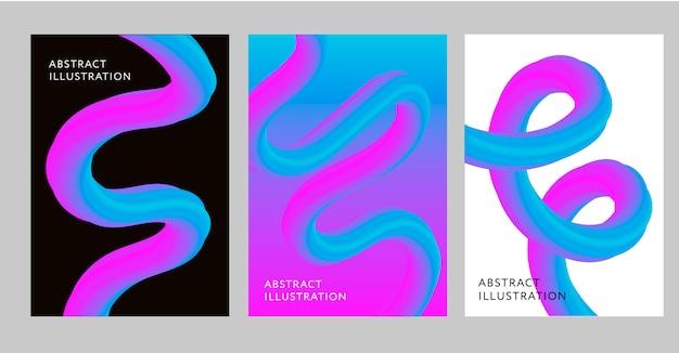 Abstrakcjonistyczny tło set, kreatywnie projekta 3d przepływu kształt ciecz