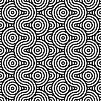 Abstrakcjonistyczny tło w czarny i biały z falistym linia wzorem