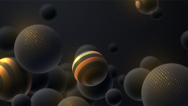 Abstrakcjonistyczny tło z 3d dynamicznymi sferami. czarne bąbelki. kulek z błyszczącymi błyskotkami i paskami. nowoczesna koncepcja okładki.