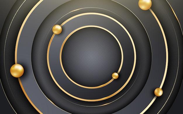 Abstrakcjonistyczny tło z czarnymi okręgami i połyskującym błyskotliwości wzorem. kompozycja z kształtami koła