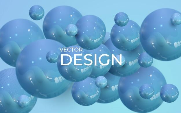 Abstrakcjonistyczny tło z dynamicznymi 3d sferami. plastikowe pastelowe niebieskie bąbelki.