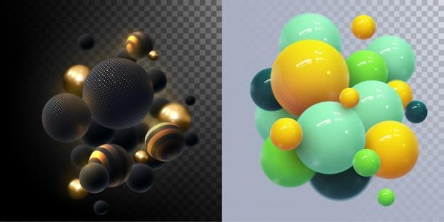 Abstrakcjonistyczny tło z dynamicznymi 3d sferami. plastikowe żółte bąbelki. ilustracja błyszczących kulek. nowoczesny modny zestaw bannerów