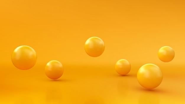 Abstrakcjonistyczny tło z dynamicznymi 3d sferami. żółte bąbelki. ilustracja błyszczących kulek. nowoczesny modny design banner