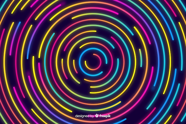 Abstrakcjonistyczny tło z geometrycznymi neonowymi kształtami