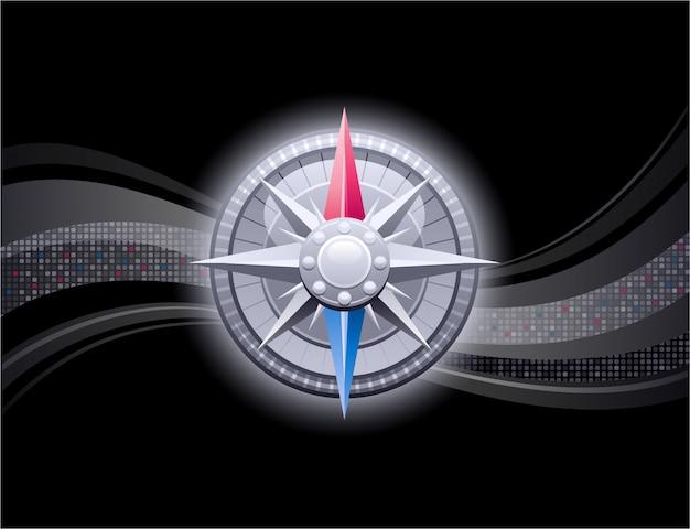 Abstrakcjonistyczny tło z rocznika kompasem. konstrukcja z falami pikseli i różą wiatrów w stylu retro. biznesowa grafika w stylu 3d z kulą ziemską. czarne tło.