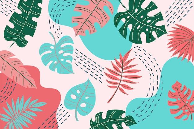 Abstrakcjonistyczny tło z tropikalnymi liśćmi