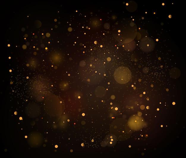 Abstrakcjonistyczny tło z złocistym bokeh skutkiem, pył cząsteczki.