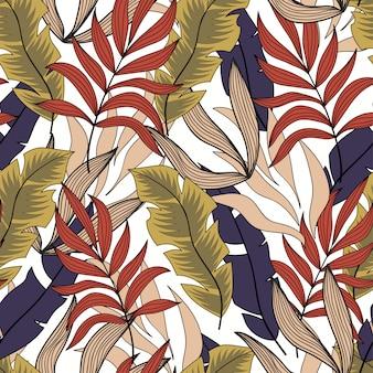 Abstrakcjonistyczny tropikalny bezszwowy wzór z pięknymi żółtymi i purpurowymi liśćmi i roślinami