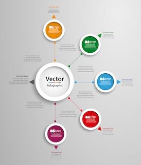 Abstrakcjonistyczny wektorowy infographics liczby opcj szablon z 5 krokami