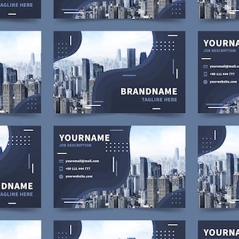 Abstrakcjonistyczny wizytówka szablon z miasto budynkami
