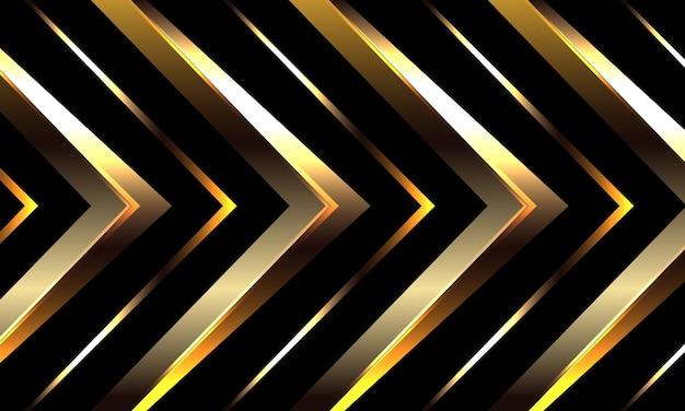 Abstrakcjonistyczny złoty kierunek strzałki na czarnym nowoczesnym luksusowym futurystycznym tle