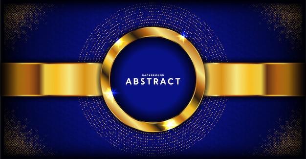Abstrakcjonistyczny zmrok - błękitny luksusowy tło z złotą linią