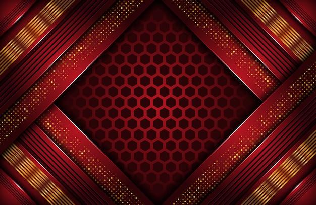 Abstrakcjonistyczny zmrok - czerwony luksusowy tło z złotą linią