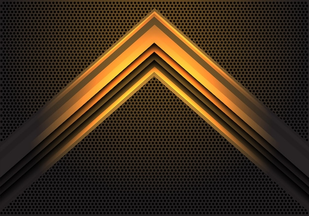 Abstrakcjonistyczny żółty strzała światła cienia kierunek na okręgu siatki wzoru projekta technologii wektoru tła nowożytnej futurystycznej ilustraci.