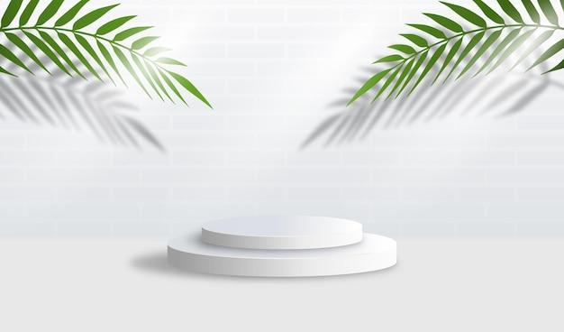 Abstrakcyjna biała minimalna scena z geometrycznymi formami.