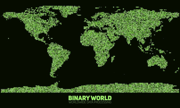 Abstrakcyjna binarna mapa świata. kontynenty zbudowane z zielonych liczb binarnych. globalna sieć informacyjna. ogólnoświatowa sieć. dane międzynarodowe. cyfrowy świat we współczesnej cyber rzeczywistości.