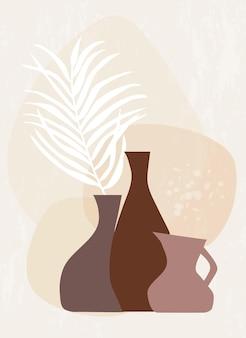 Abstrakcyjna botaniczna sztuka ścienna z liściem palmowym w wazonach