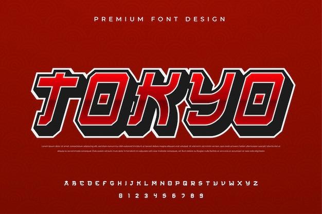 Abstrakcyjna czcionka alfabetu miejskiego z premią w nowoczesnym i japońskim stylu kultury