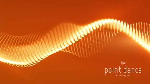 Abstrakcyjna czerwona fala cząstek, tablica punktów, płytka głębia ostrości. futurystyczna ilustracja. technologia cyfrowego rozprysku lub eksplozji punktów danych. fala tańca punktowego.