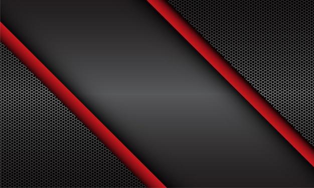 Abstrakcyjna czerwona szara metaliczna siatka sześciokątna geometryczny wzór nowoczesny luksusowy futurystyczny tło