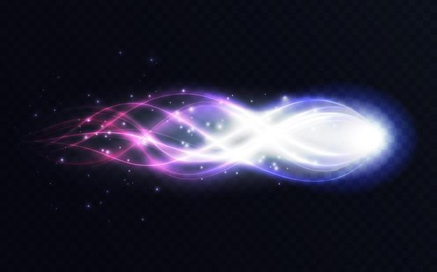 Abstrakcyjna energia lśniące linie świecący efekt świetlny jasny wir latający magiczny blask fali