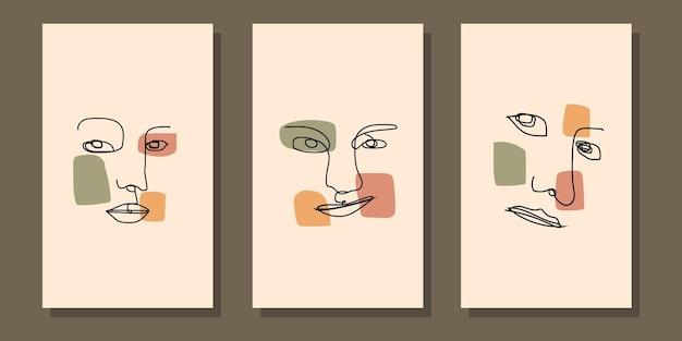 Abstrakcyjna estetyczna nowoczesna linia sztuki w połowie wieku plakat boho
