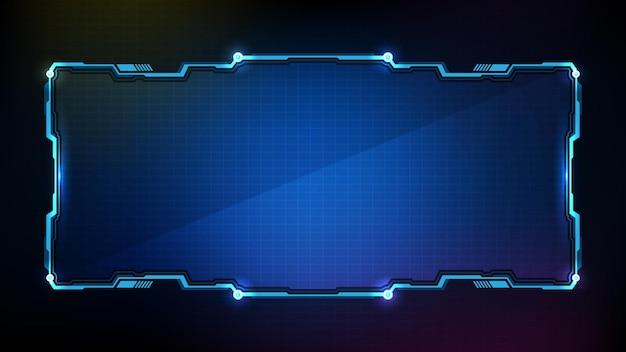 Abstrakcyjna futurystyczna niebieska świecąca technologia sci fi ramka hud ui