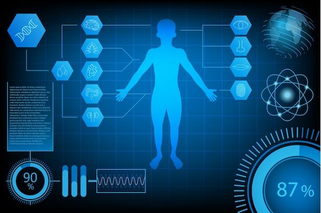 Abstrakcyjna futurystyczna technologia nauki pojęcie człowieka i świata
