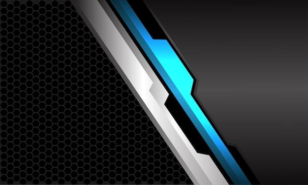 Abstrakcyjna futurystyczna technologia niebieski srebrny czarny cyber cięcie szary pusta przestrzeń ciemna sześciokątna siatka