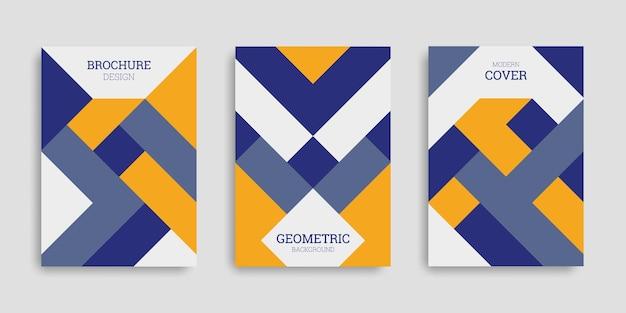 Abstrakcyjna geometryczna kolekcja okładek biznesowych w płaskim stylu