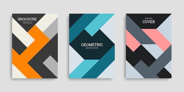Abstrakcyjna geometryczna kolekcja okładek biznesowych w stylu płaski