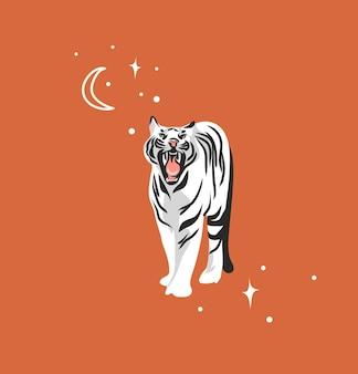 Abstrakcyjna graficzna ilustracja kreskówka z pięknem śliczna niebiańska modna przyroda biały tygrys