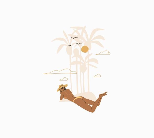 Abstrakcyjna graficzna letnia kreskówka, ilustracje drukowane z bohemską piękną dziewczyną opalającą
