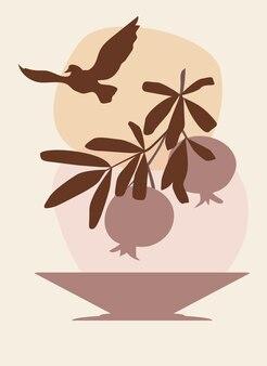 Abstrakcyjna grafika ścienna przedstawiająca gałązkę granatu nad wazonem i latającego ptaka na niebie