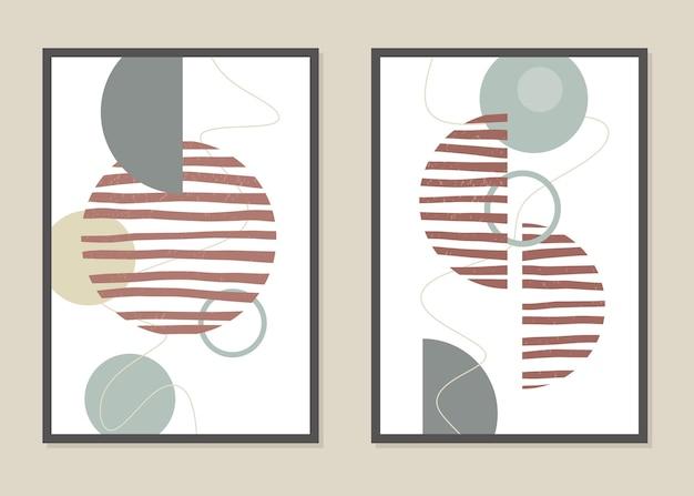 Abstrakcyjna grafika ścienna z geometrycznymi kształtami w modnych kolorach