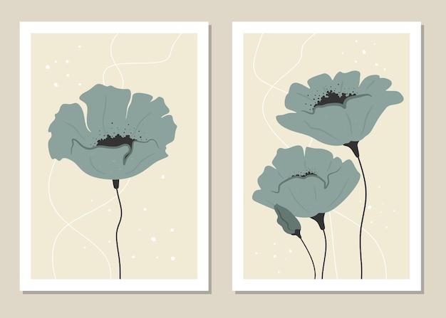 Abstrakcyjna grafika ścienna z kwiatami