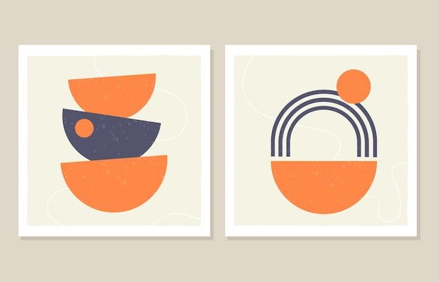 Abstrakcyjna grafika ścienna z tęczowymi kształtami w minimalistycznym stylu