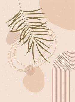 Abstrakcyjna grafika współczesna z dekoracją ścienną long rainbow boho z liśćmi palmowymi o naturalnych kształtach