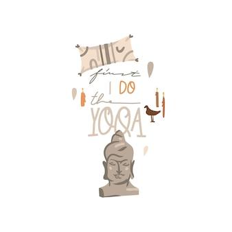 Abstrakcyjna ilustracja clipart z piękną figurką głowy buddy, medytacją i koncepcją jogi