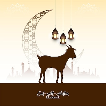 Abstrakcyjna ilustracja islamskiego festiwalu eid al adha mubarak
