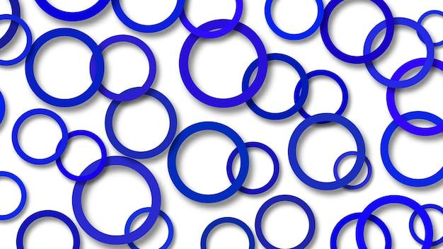 Abstrakcyjna ilustracja losowo ułożonych niebieskich pierścieni z miękkimi cieniami na białym tle