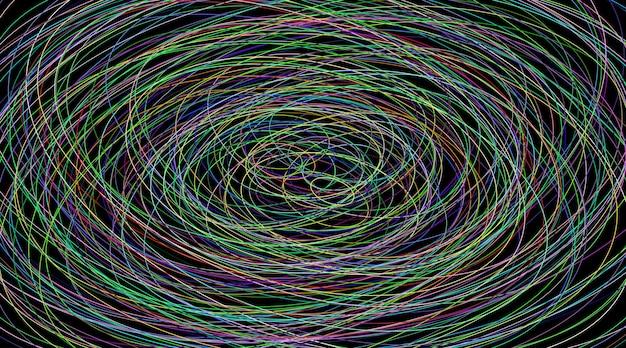Abstrakcyjna ilustracja różnych kolorowych elips na czarnym tle