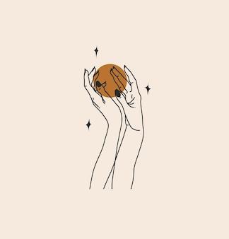 Abstrakcyjna ilustracja z logo marki niebiańska magiczna linia sztuki kobiecej ręki, półksiężyca, gwiazdy