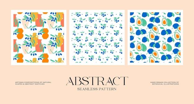 Abstrakcyjna kolekcja bezszwowych wzorów botanicznych dopasowana do twojej tożsamości marki naszego projektu opakowania