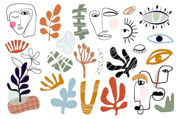 Abstrakcyjna kolekcja nowoczesnych elementów o różnych kształtach