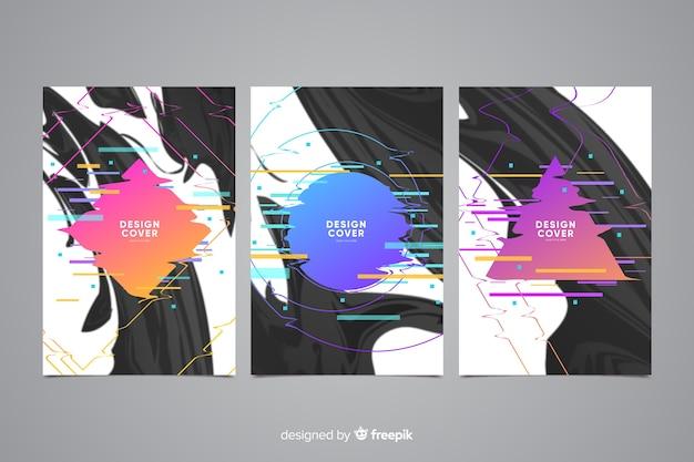 Abstrakcyjna kolekcja okładek efektu glitch
