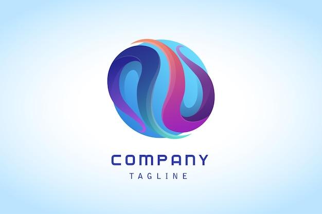Abstrakcyjna kolorowa linia z niebieskim kółkiem gradientowym logo firmy