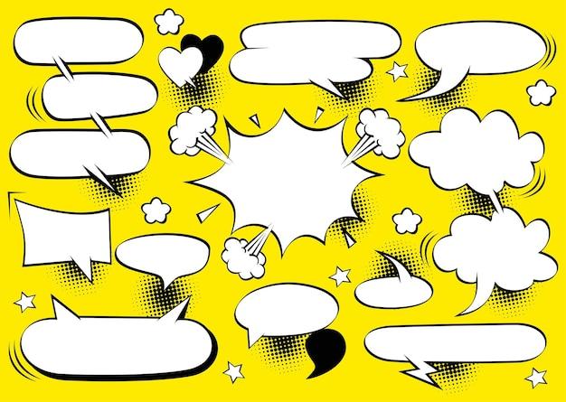 Abstrakcyjna koncepcja kreatywna wektor komiksy w stylu pop-art pusty szablon układu z chmurami