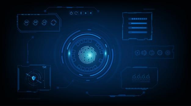 Abstrakcyjna koncepcja systemu bezpieczeństwa z odciskami palców na tle technologii.